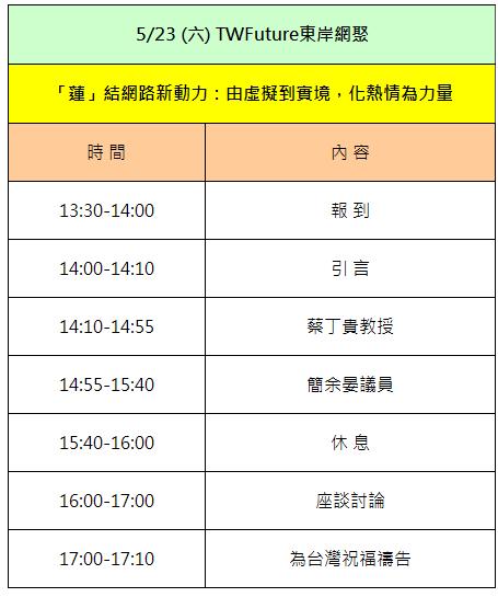 「蓮」結網路新動力,523東岸全國網聚-節目流程